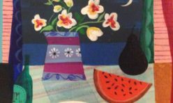 Polly Dolby, Black Pear and Watermelon, Acrylic on Canvas