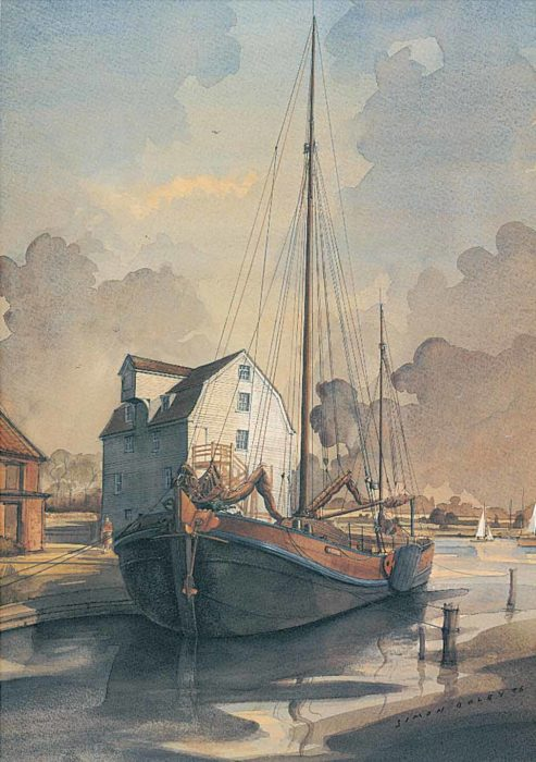 Dutch Barge at Woodbridge Suffolk by Simon Dolby at The Dolby Gallery