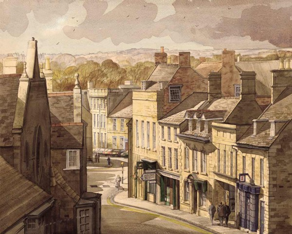 Looking Down on West Street Oundle by Simon Dolby at The Dolby Gallery