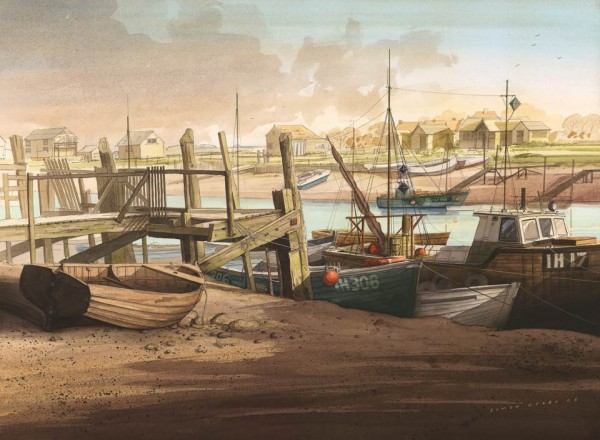 Southwold Harbour looking towards Warbleswick Suffolk a limited edition print from an original watercolour By Simon Dolbyat The Dolby Gallery Oundle