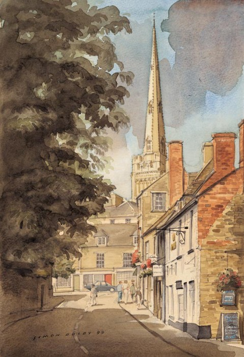 St Osyth's Lane Oundle by Simon Dolby at The Dolby Gallery