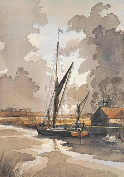 Thames Barge at Snape Suffolk by Simon Dolby at The Dolby Gallery