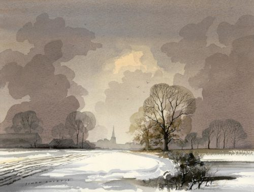 Towards Oundle in the Snow at The Dolby Gallery by Simon Dolby
