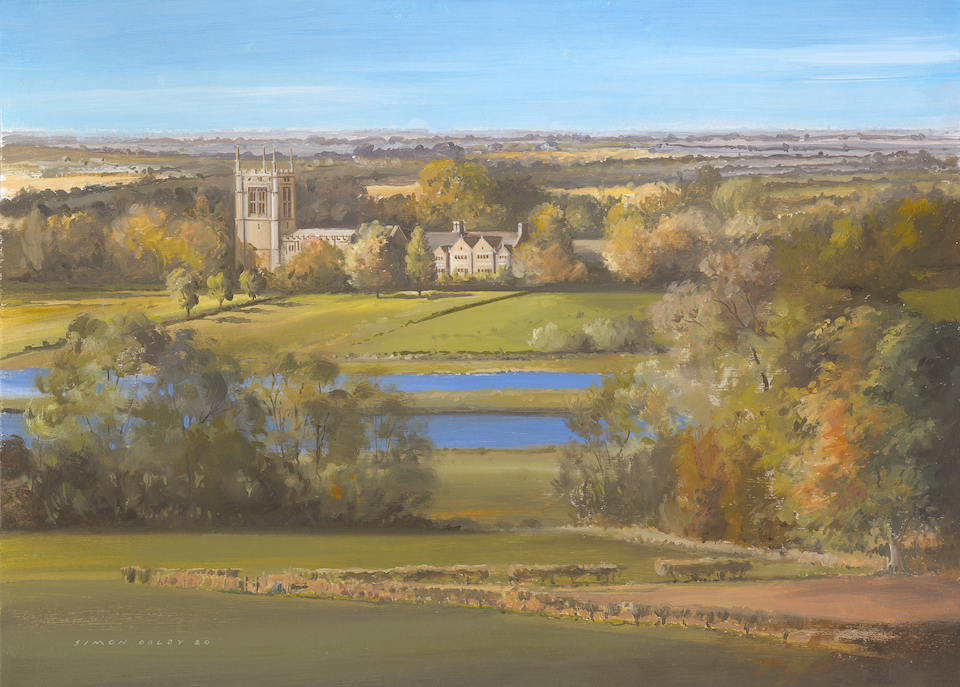Aldwincle Church St Peters' 2020 Oil on Canvas by Simon Dolby The Dolby Gallery Oundle Northamptonshire