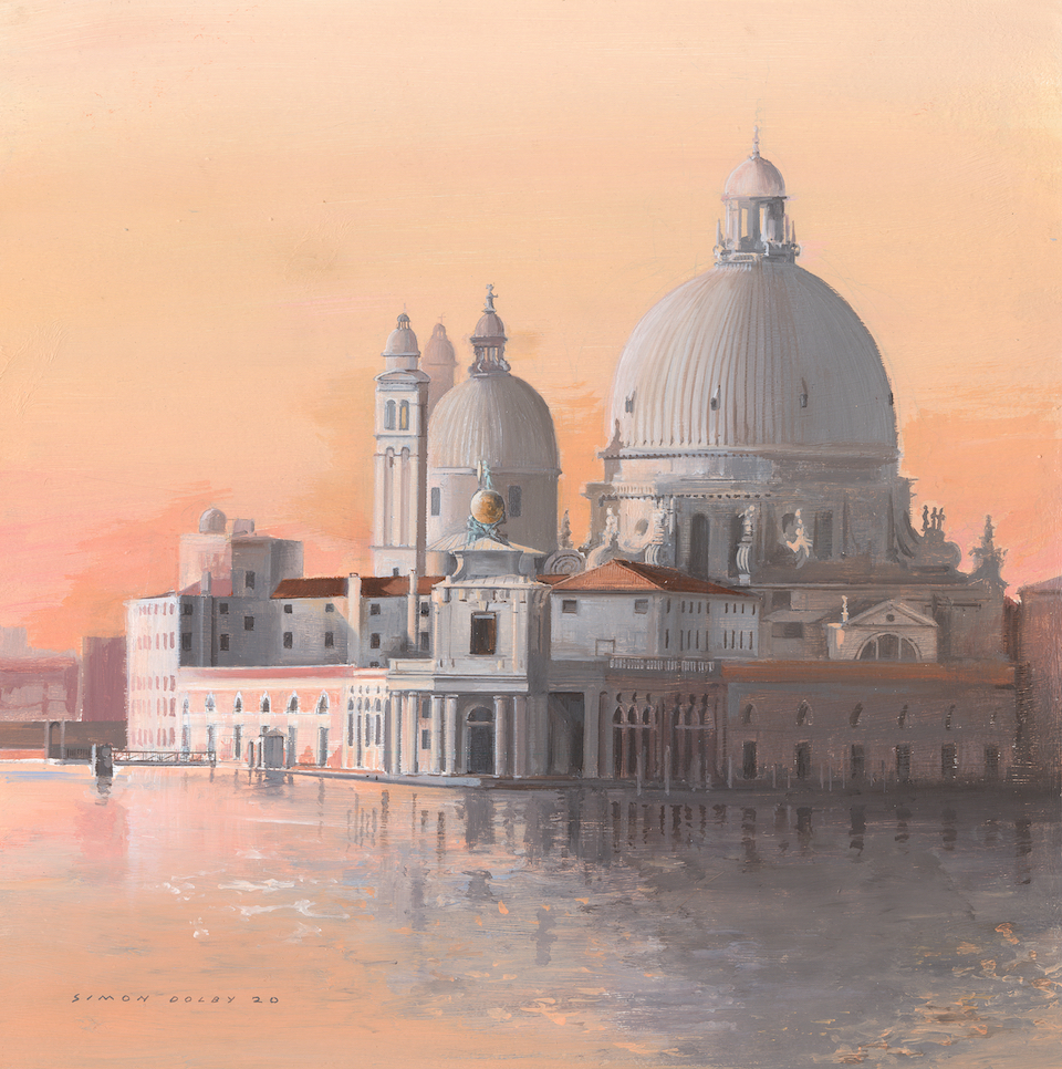 Evening Light Santa Maria della Salute Venice 2020 by Simon Dolby at The Dolby Gallery Northamptonshire England