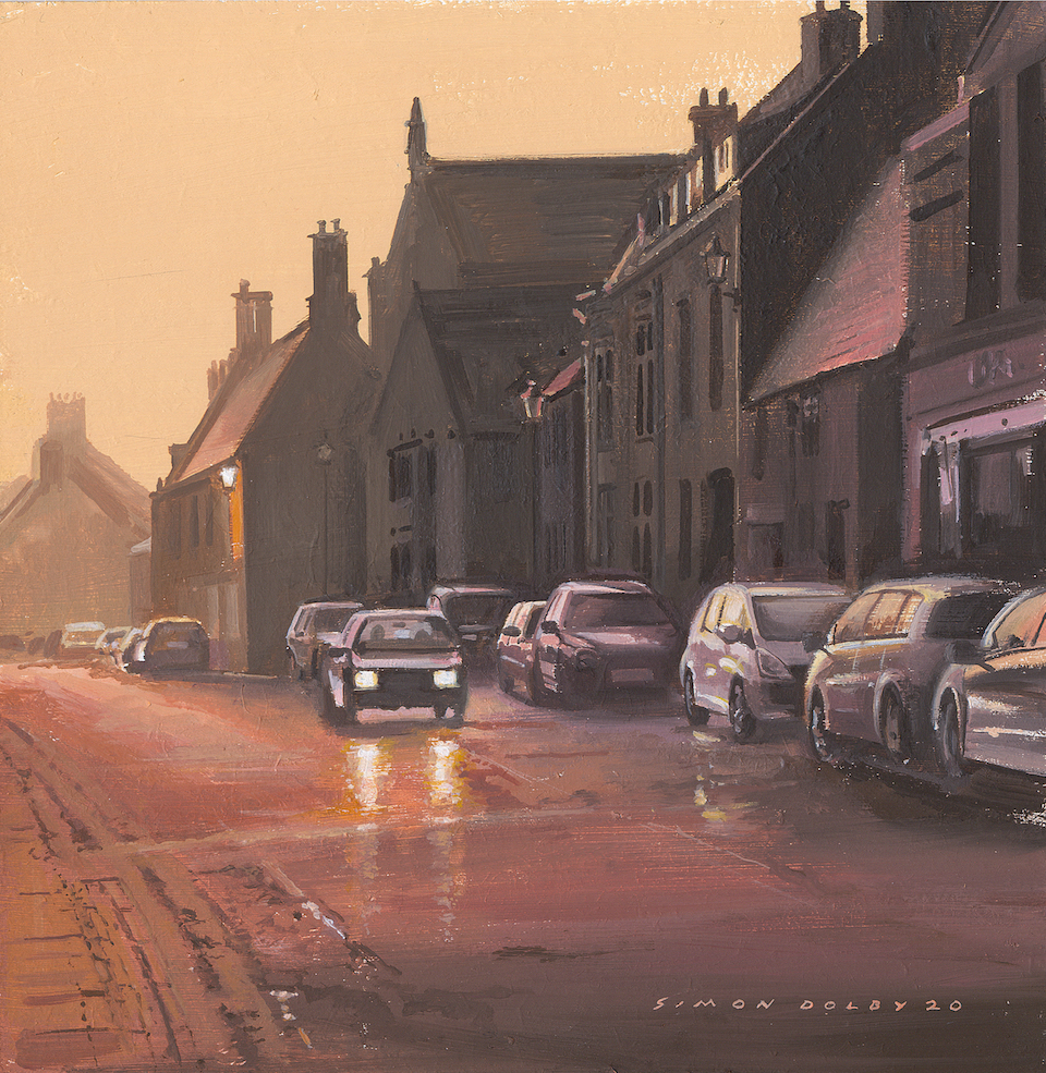 Sunset on West Street, Oundle, Northamptonshire, 2020 by Simon dolby