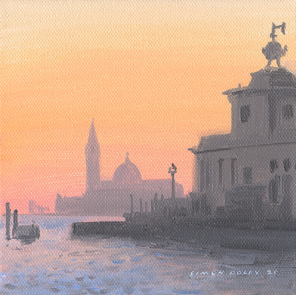 Custom House Venice Towards San Giorgio Maggiore 2020 by Simon Dolby at The Dolby Gallery Oundle Northamptonshire England