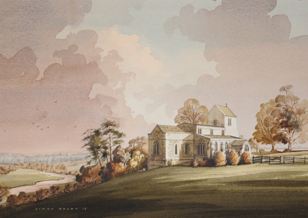 Wadenhoe Church Watercolour by Simon Dolby at The Dolby Gallery Oundle
