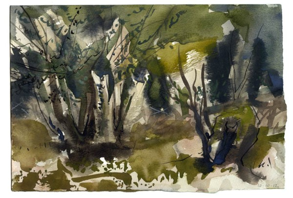 oppice-1. Lower woods 10.10.12 – 280mm x 190mm – Watercolour – £490 at The Dolby Gallery Oundle
