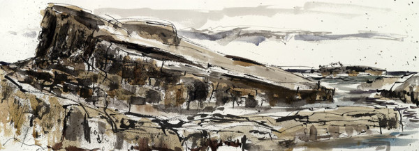 Harkess rocks 1. Northumberland – 355mm x 270mm – Ink and Watercolour – £550 at The Dolby Gallery Oundle