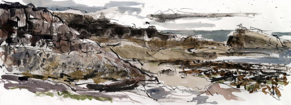 Harkess rocks 2. Northumberland – 755mm x 275mm – Ink and Watercolour – £550 at The Dolby Gallery Oundle