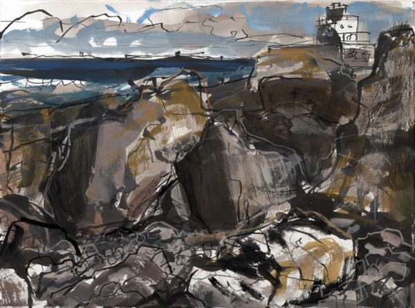 Harkess rocks 3. Northumberland – 755mm x 275mm – Ink, Gouache and Conte – £550 at The Dolby Gallery Oundle