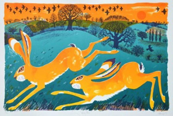 Hare Pair Lithograph by Carry Akroyd at The Dolby Gallery Oundle