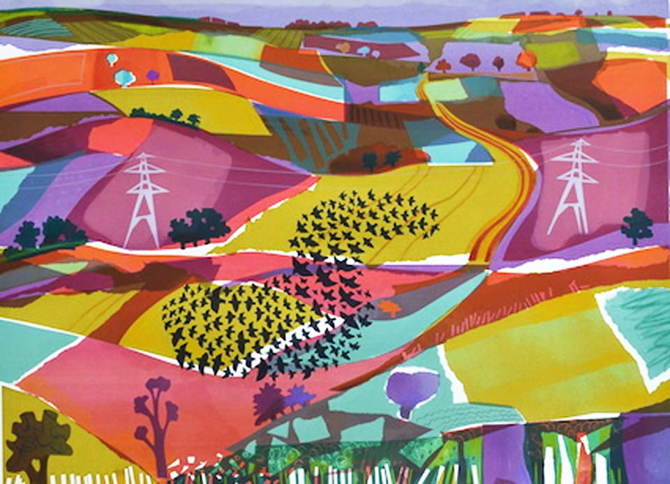 Flock and Pylons by Carry Akroyd at The Dolby Gallery Oundle