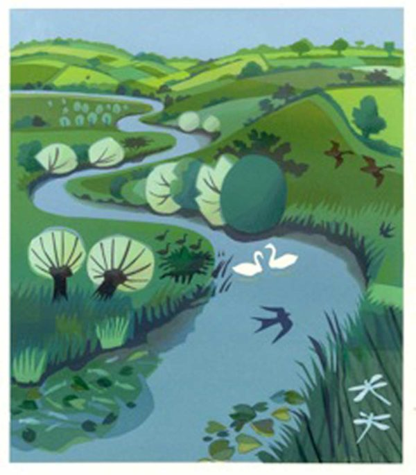 River Winding Through Green Fields by Carry Akroyd at The Dolby Gallery Oundle