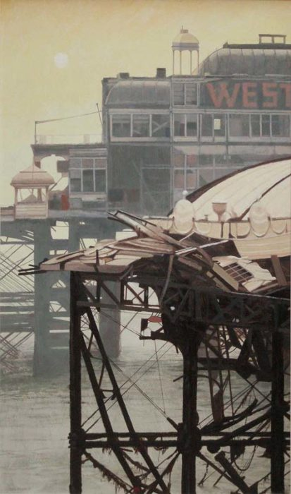A wrecked West Pier Brighton by Gill Levin at The Dolby Gallery Oundle