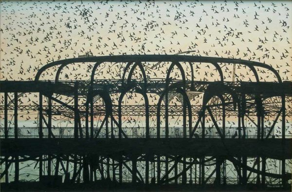 Dusk over the West Pier Brighton by Gill Levin at The Dolby Gallery Oundle