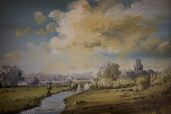 Towrds Fotheringhay from the castle mound by Simon Dolby at The Dolby Gallery Oundle