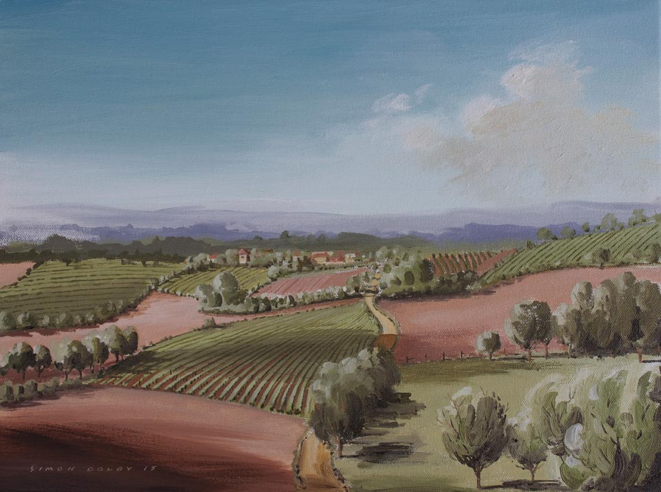 Towards St Beauzile, South West Franaceby Simon Dolby at The Dolby Gallery, Oundle