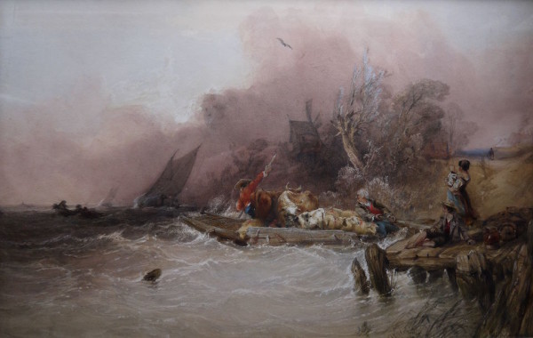 Charles Bentley OWS (1796-1854) The Ferry, warecolour, crayon and bodycolour, signed and dated 1840 at The DolbyGallery Oundle Northamptonshire