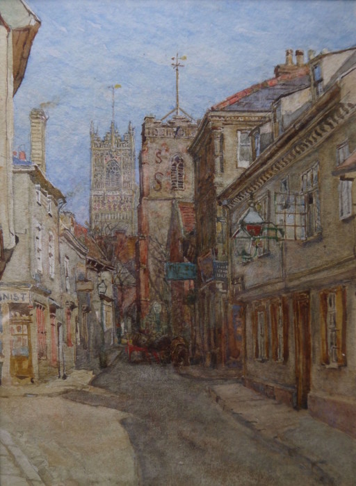 Charles Robertson (1860-1920) View in Ipswich, watercolour, signed 8ins x 5ins at The Dolby Gallery Oundle Northamptonshire
