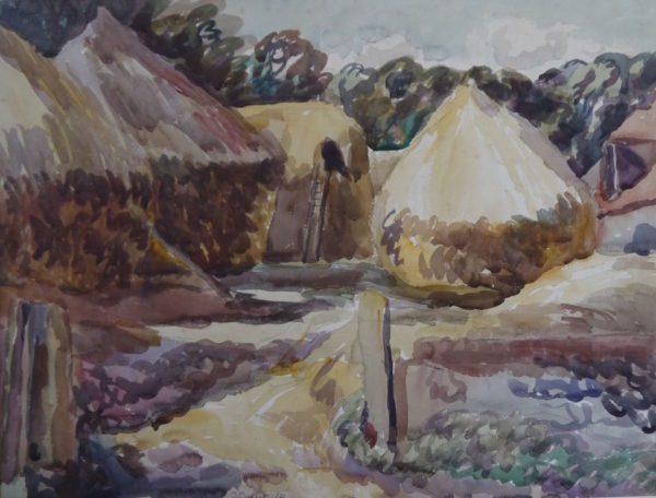 Duncan Grant (1885-1979) Haystacks at Charleston, watercolour signed and dated 1921, 20ins x 26ins at The DolbyGallery Oundle Northamptonshire