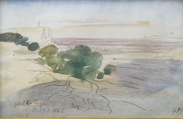 Gebel um Tarfa, Sinai, Egypt by Edward Lear at The Dolby Gallery, Oundle Northamptonshire
