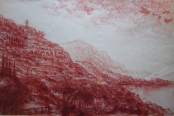 Gerald Judah Osoki (1903-1981) Positano, Italy, red chalks, signed and dated 1961 111/2ins x 17ins at The Dolby Gallery Oundle Northamptonshire