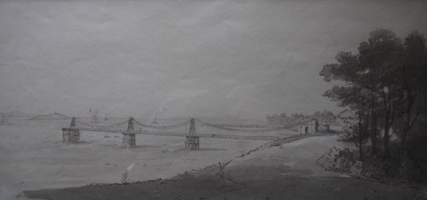 Hon ,Mrs H. Fortescue (d1841) Trinity Chain Bridge at Newhaven, Edinburgh Pen and Ink, signed , inscribed and dated 1823, 6ins x 11 ½ at The Dolby Gallery Oundle Northamptonshire