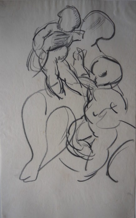 Ivon Hitchens (1893-1979) Mother and two Children, pencil 8ins x 13ins at The Dolby Gallery Oundle Northamptonshire