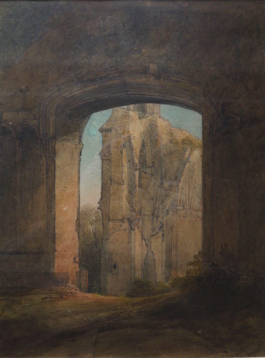 James Johnson (1803-1834) Lady Chapel, Glastonbury. Watercolour , signed and dated 1821 11 ½ x 9ins at The Dolby Gallery Oundle Northamptonshire