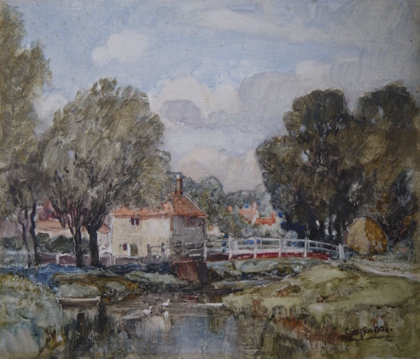 Joseph Compton Hall (1893-1979) The Old Bridge, Alfriston, East Sussex Watercolour on panel, inscribed on reverse at The Dolby Gallery Oundle Northamptonshire