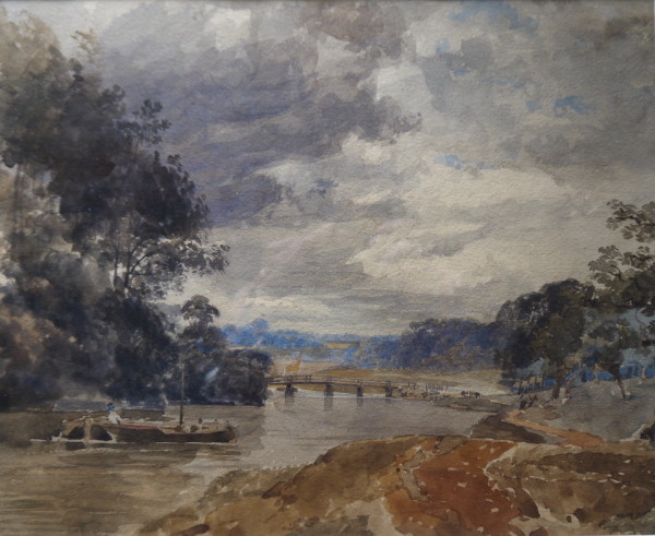 Richard Pratchett Noble (fl.1830-1861) River Landscape, watercolour 9ins x 11ins at The Dolby Gallery Oundle Northamptonshire