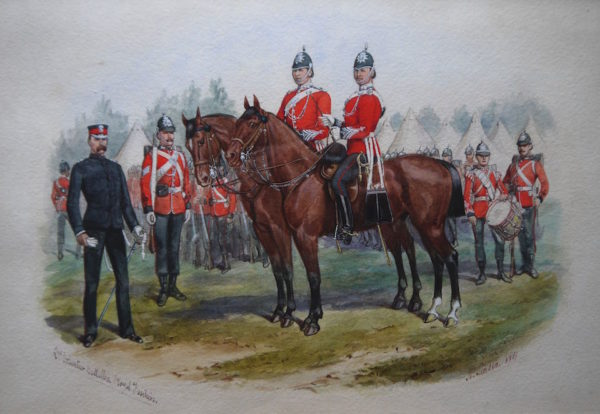 Richard Simkin (1840-1926) Second Volunteer Royal battalion Fusiliers, Watercolour, signed and dated 1884 9ins x 13 ½ at The Dolby Gallery Northamptonshire