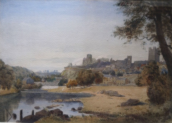Thomas Miles Richardson Snr , Ows (1784-1848) Richmond Castle, watercolour 10ins x 14ins at The Dolby Gallery Oundle Northamptonshire