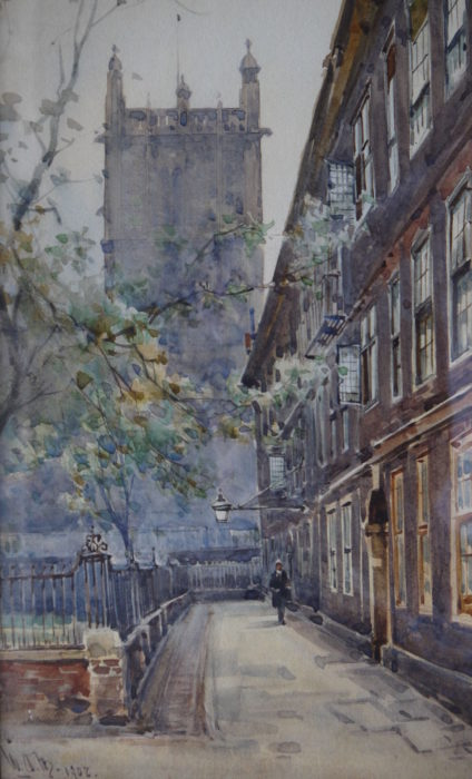 William Alastair Macdonald (1861-1946) City Church, watercolour , signed and inscribed 10ins x 5ins at The Dolby Gallery Northamptonshire