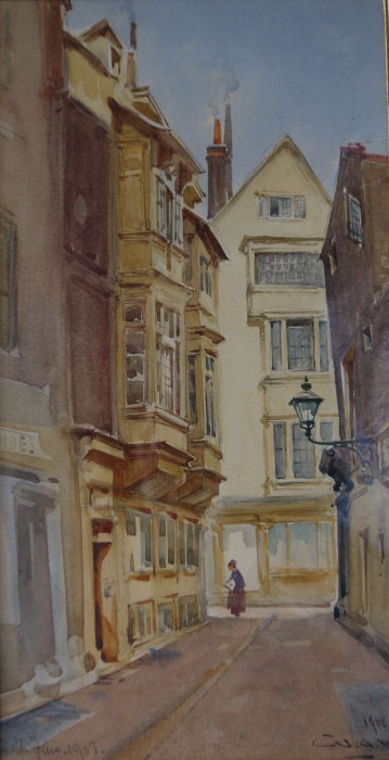 William Alister Macdonald (1861-1946) Cloth Fair, watercolour, signed and inscribed 10ins x 5ins at The Dolby Gallery Oundle Northamptonshire