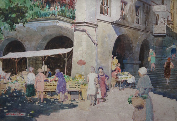 William Herbert Allen RBA (1863-1936), market Place, Brittany, watercolour, signed 10ins x 14ins. at The Dolby Gallery Oundle Northamptonshire